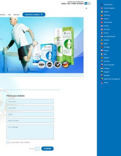 Acuraflex.com Language menu